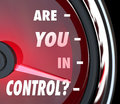 Are you in control words speedometer leader organization on a asking if re the person leading an or if have a handle on things Stock Image