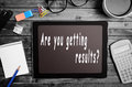 Are you getting results text written on digital tablet Stock Image