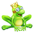 You have to kiss a lot of frogs to find a prince or princess a frog wearing a crown with red lipstick on his or her cheek Royalty Free Stock Images