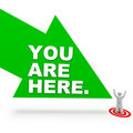 You are Here - Arrow and Person Stock Photo