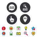 You are here icons. Info speech bubble sign. Royalty Free Stock Photo