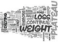 When You Hit A Plateau With Your Weight Loss Word Cloud