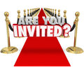 Are You Invited 3d Words Red Carpet Exclusive Special Event Royalty Free Stock Photo