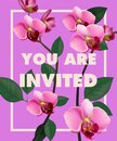 You are invited lettering with pink orchid on purple background Royalty Free Stock Photo