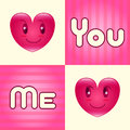 You and me background man woman heart with word in four square Royalty Free Stock Image