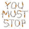 You must stop text made from broken cigarettes Royalty Free Stock Photo