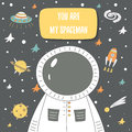 You are my spaceman romantic postcard about love, feelings Royalty Free Stock Photo