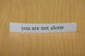 You are not alone the phrase typed on a strip of paper left standing on a wooden desktop background Royalty Free Stock Images