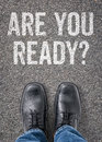 Are you ready text on the floor Royalty Free Stock Photos