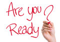 Are You Ready written on the wipe board Royalty Free Stock Photo