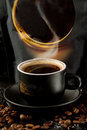 When you see a cup of hot, fragrant, saturated coffee, you become like a cup of coffee in captivity Royalty Free Stock Photo