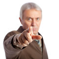 You senior businessman pointing at camera isolated on white Stock Image