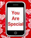 You are special on phone means love romance meaning or idiot Stock Image