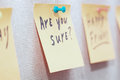 Are you sure adhesive note with text on a label Stock Photo
