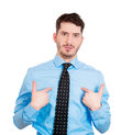 You talking to me closeup portrait of a surprised angry young man unexpectedly asking question mean isolated on white background Royalty Free Stock Photos