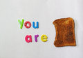 You are toast or finished or in trouble metaphor words and a piece of meaning a well known saying Stock Image