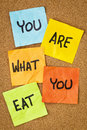 You are what to eat healthy lifestyle concept reminder words handwritten of sticky notes Royalty Free Stock Photography