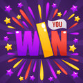 You Win, congratulation bright and glossy banner with lettering