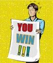 You Win vector vintage pop art illustration
