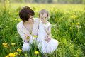 Youn mother and her girl in dandelions field Royalty Free Stock Photography