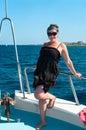 Youn woman on yacht board Royalty Free Stock Photo