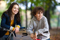 Young active people biking Royalty Free Stock Photos
