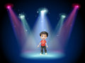 A young actor at the center of the stage illustration Royalty Free Stock Images