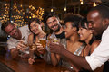 Young adult friends making a toast by the bar at a party Royalty Free Stock Photo