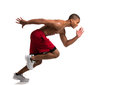 Young African American Athlete Sprinting Isolated Stock Images