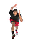 Young african american athlete sprinting isolated on white background Stock Images