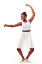 Young african-american ballet dancer in demi-plie Royalty Free Stock Images