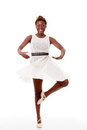 Young african-american ballet dancer in piroutte Royalty Free Stock Images