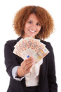 Young african american business woman holding euro bills afric isolated on white background people Royalty Free Stock Photos