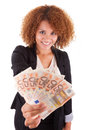Young african american business woman holding euro bills afric isolated on white background people Stock Photos