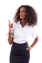 Young african american business woman showing something africa over white background people Royalty Free Stock Photo