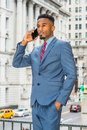 Young African American Businessman with beard working in New York Royalty Free Stock Photo