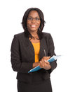 Young african american businesswoman holding folders isolated on white background Royalty Free Stock Photos