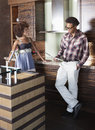 Young african american couple at new furnished kitchen Royalty Free Stock Photo