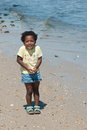 A young African-American girl at the beach. Royalty Free Stock Photography