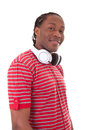 Young african american man with headphones black people isolated on white background Stock Image