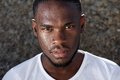 Young african american man with sweat dripping down face close up portrait of a Royalty Free Stock Photo