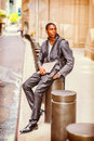 Young African American man traveling, working in New York