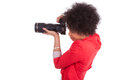 Young african american  photographer with camera Royalty Free Stock Photography