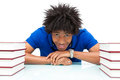 Young african american student reading books african people over white background Stock Image
