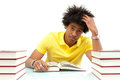 Young african american student reading books african people over white background Stock Images