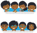 Young African American teens having fun in outdoor swimming pool Royalty Free Stock Photo