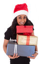 Young African American woman holding gift boxes Stock Images