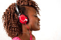 Young african american woman listening to music pretty with headphones Royalty Free Stock Photos