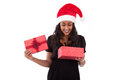Young African American woman opening a gift box Royalty Free Stock Image