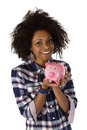Young african american woman with piggy bank isolated on white background Stock Photos